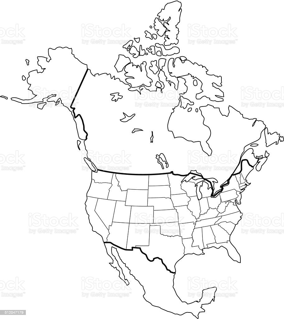 America South Us And Map Outlined Mexico