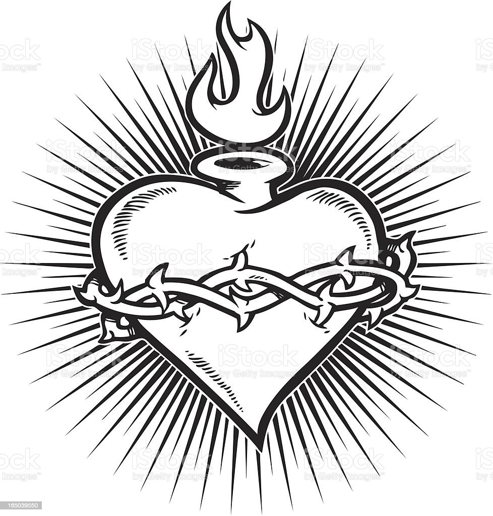 Fire Heart Jesus Line Drawing