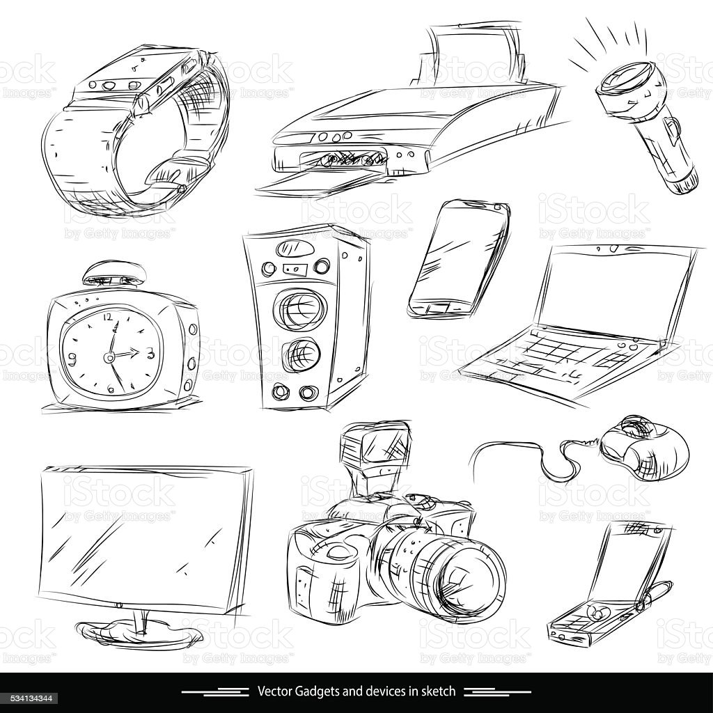Set of electronic gadget in sketch vector camera notebook printer