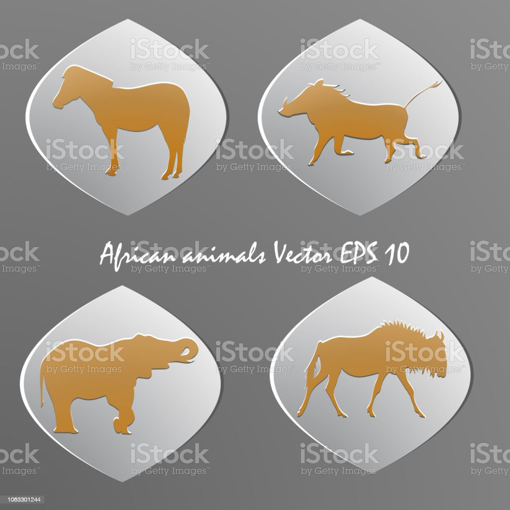 Image of: Textile Africa Namibia Abstract Animal Animal Wildlife Istock Set Of White Paper Stickers Silhouettes Of African Animals Stock