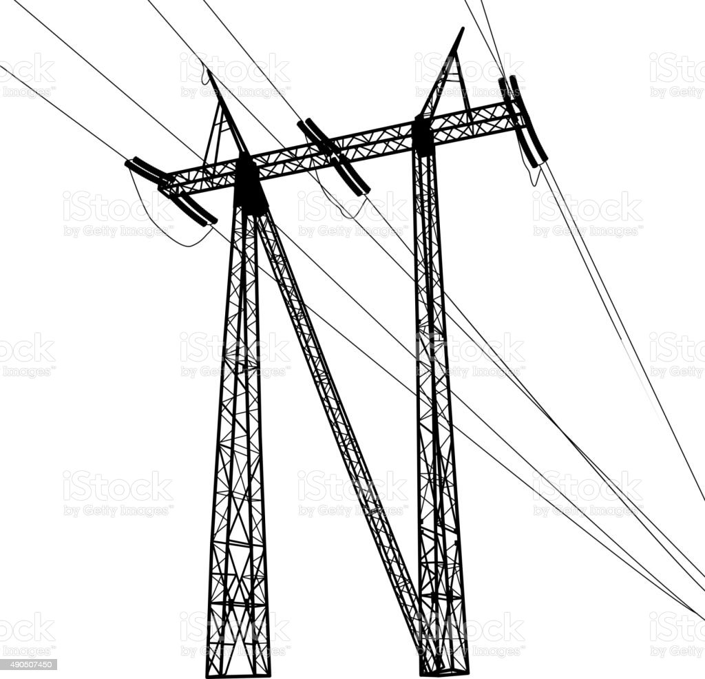 Silhouette of high voltage power lines vector illustratio stock