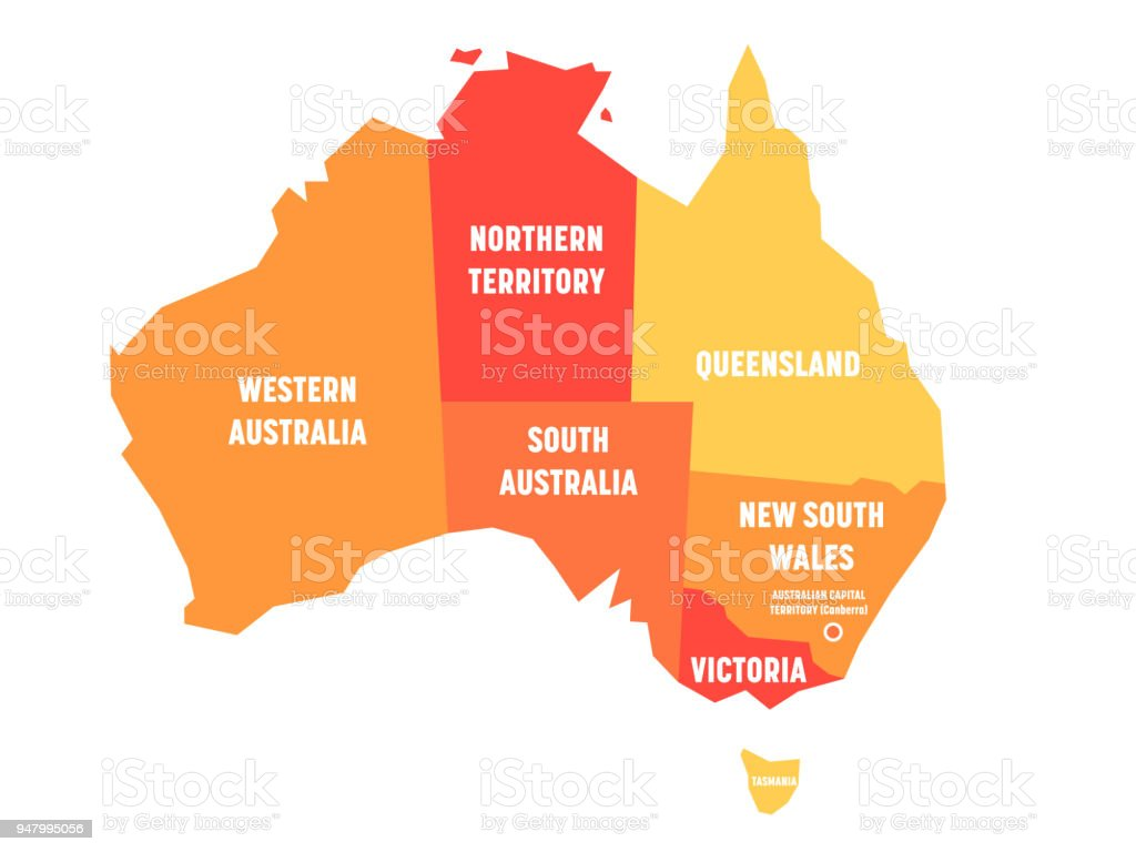 Simplified Map Of Australia Divided Into States And Territories     Simplified map of Australia divided into states and territories  Orange flat  map with white labels