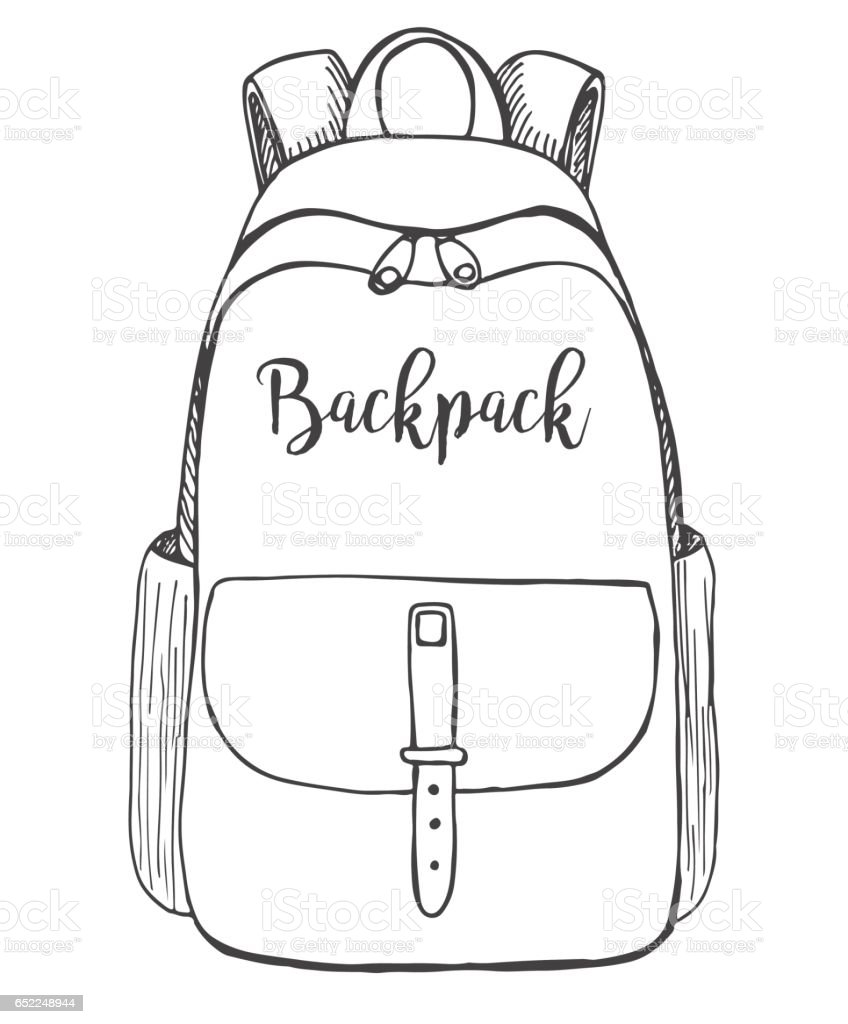 Sketch Of A Rucksack Backpack Isolated On White Background ...