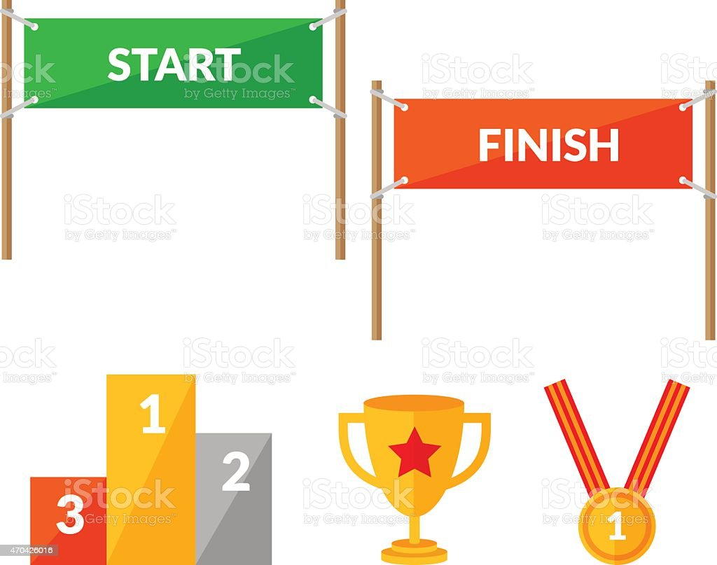 Cartoon Running Race Start And Finish
