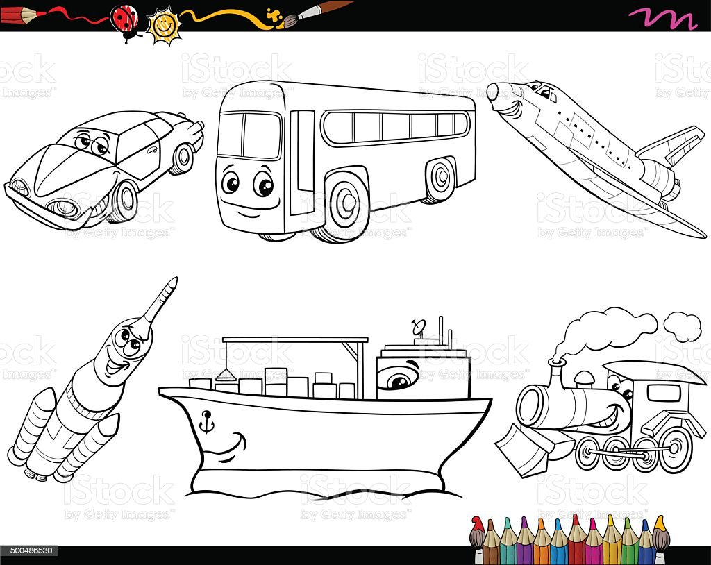 Transport Vehicles Coloring Page Stock Vector Art More Images Of