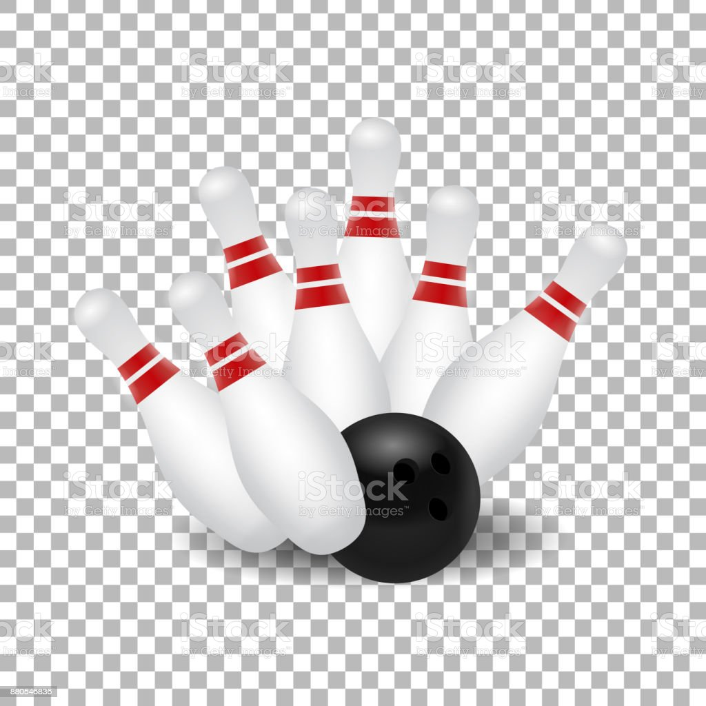 Vector Realistic Isolated Bowling Skittle And Ball Strike ...