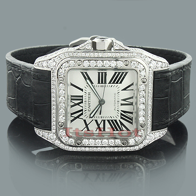 Custom Cartier Santos 100 Mens Diamond Watch 6 92ct