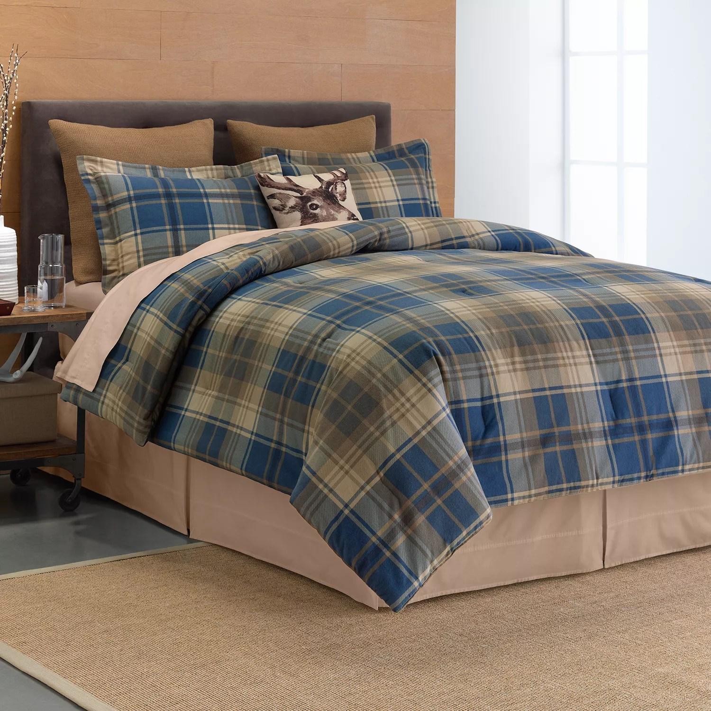 Cuddl Duds Plaid 6 Pc Flannel Comforter Set