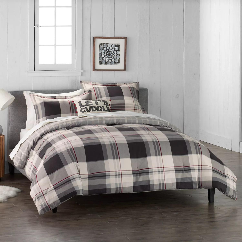 Cuddl Duds Home Gray Lodge Plaid 4 Piece Flannel Comforter Set