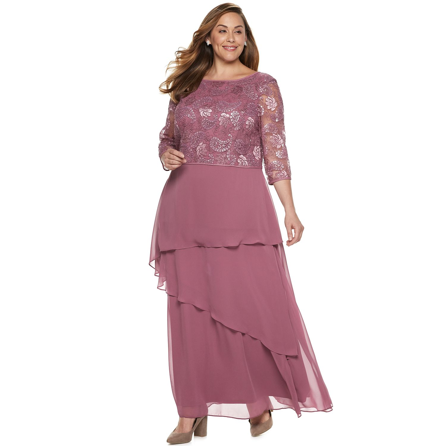 Maxi Dresses   Kohl s Plus Size Le Bos Tiered Chiffon Dress