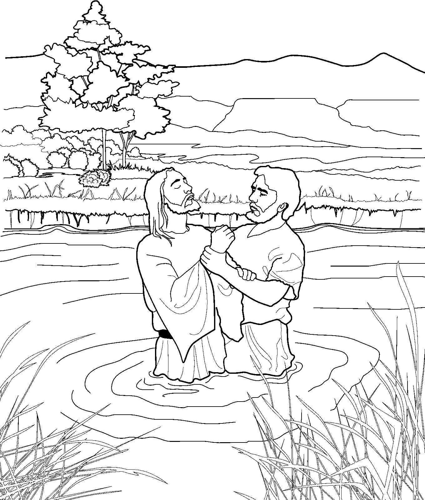 Baptized Getting Coloring Jesus Page