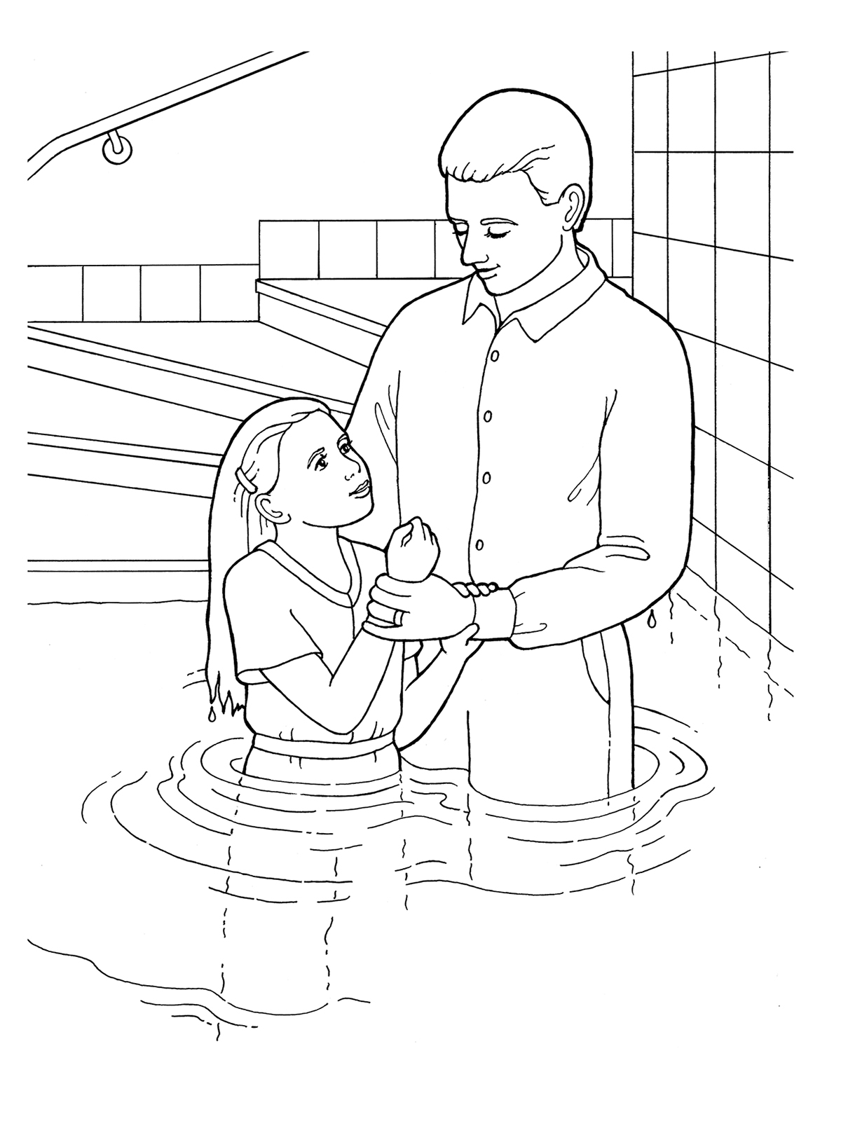 Page Getting Baptized Coloring Jesus