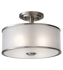 Feiss SF251BS Casual Luxury 2 Light 13 inch Brushed Steel Semi Flush     Feiss SF251BS Casual Luxury 2 Light 13 inch Brushed Steel Semi Flush Mount  Ceiling Light in Standard  Silver Organza Fabric