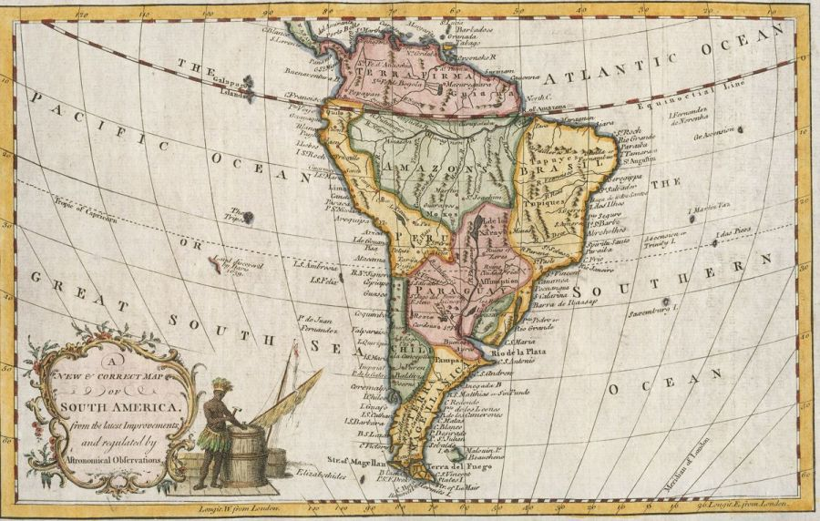 Small British map of South America  maker unknown   1700s  hand     Small British map of South America  maker unknown   1700s  hand colored   Loading zoom