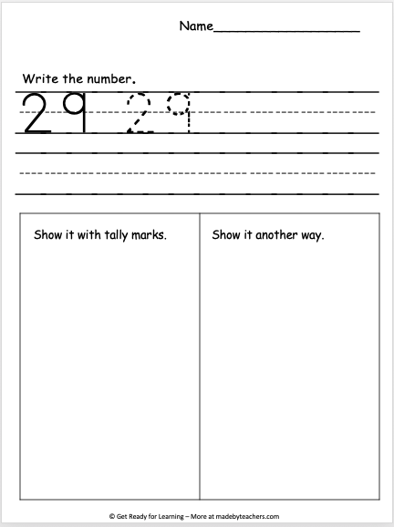 Exploring Number 29 Worksheet - Madebyteachers
