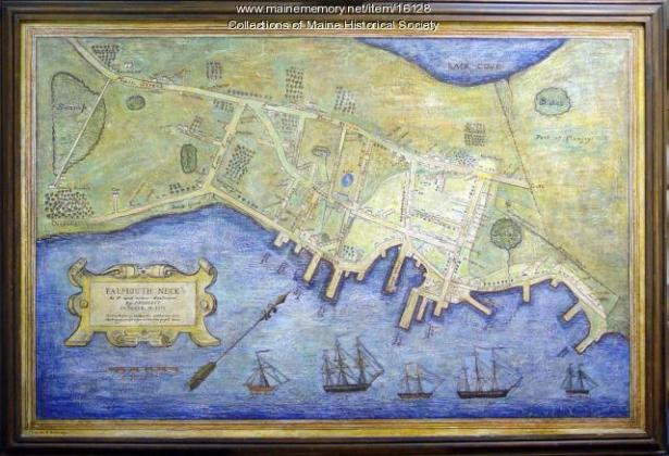 Painted map of destroyed Falmouth Neck  1775   Maine Memory Network Painted map of destroyed Falmouth Neck  1775