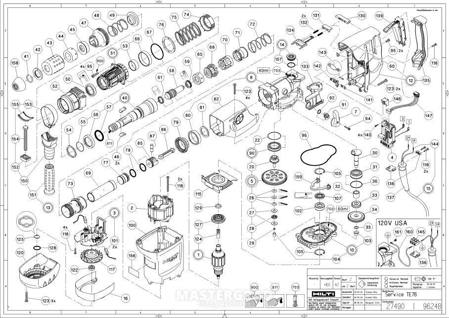 Hilti Te 500 Hammer Drill Parts Diagram
