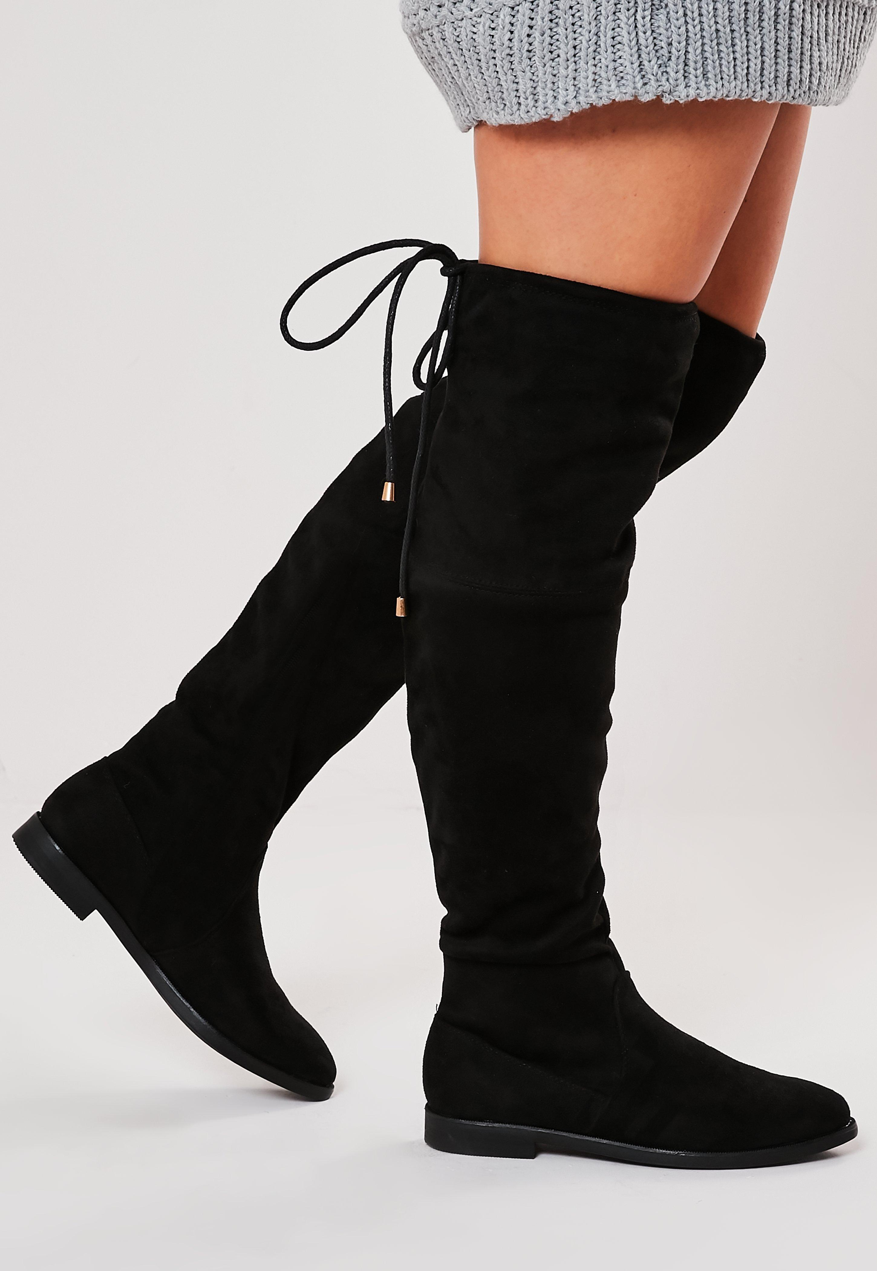 Black Over The Knee Flat Boots | Missguided