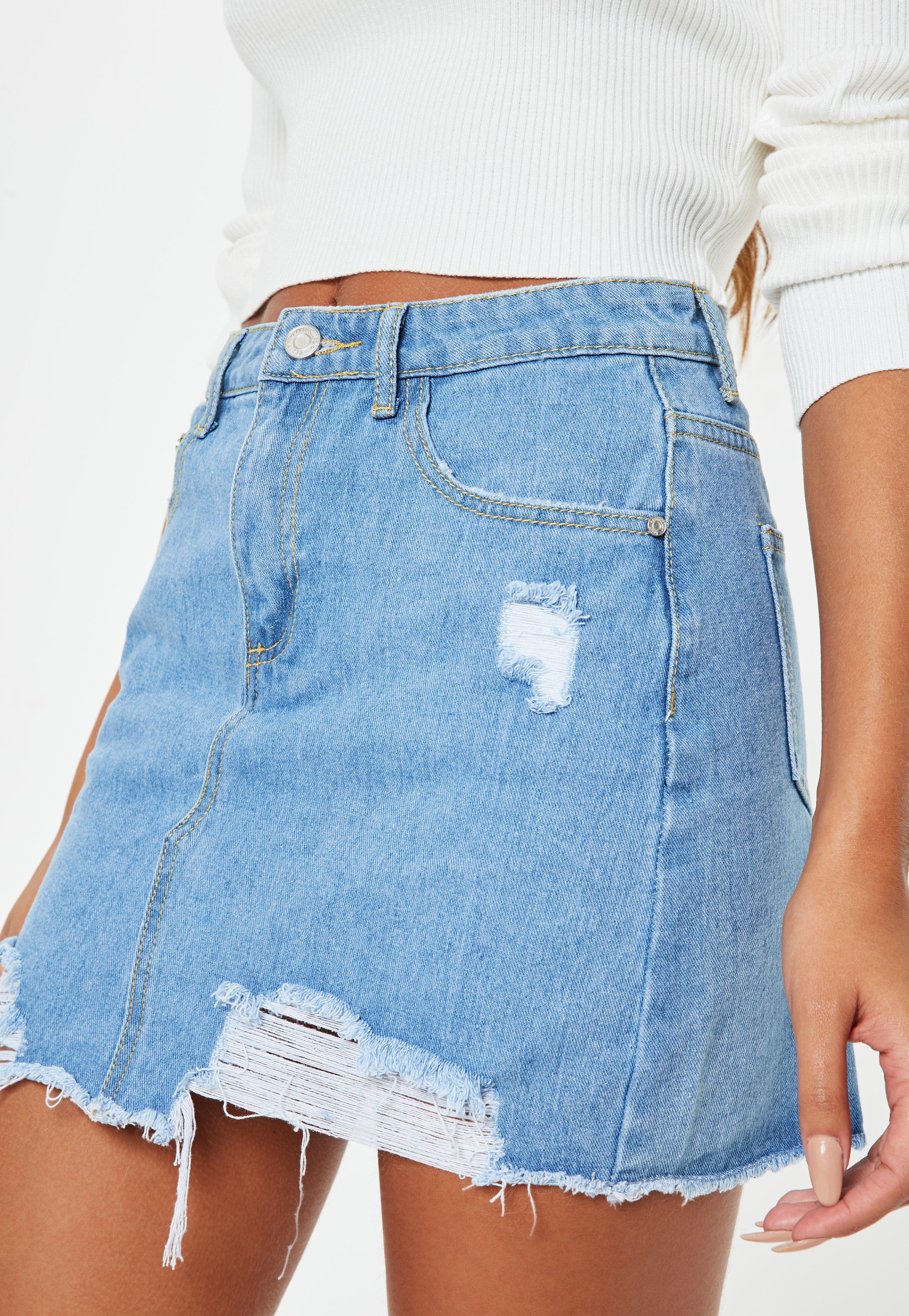 Light Blue Ripped A Line Denim Mini Skirt Missguided