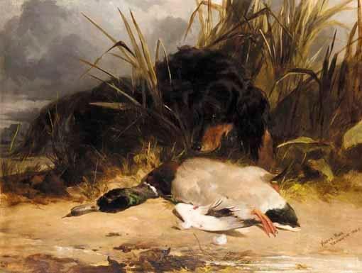 Harry Hall - GORDON SETTER WITH MALLARD, oil on canvas