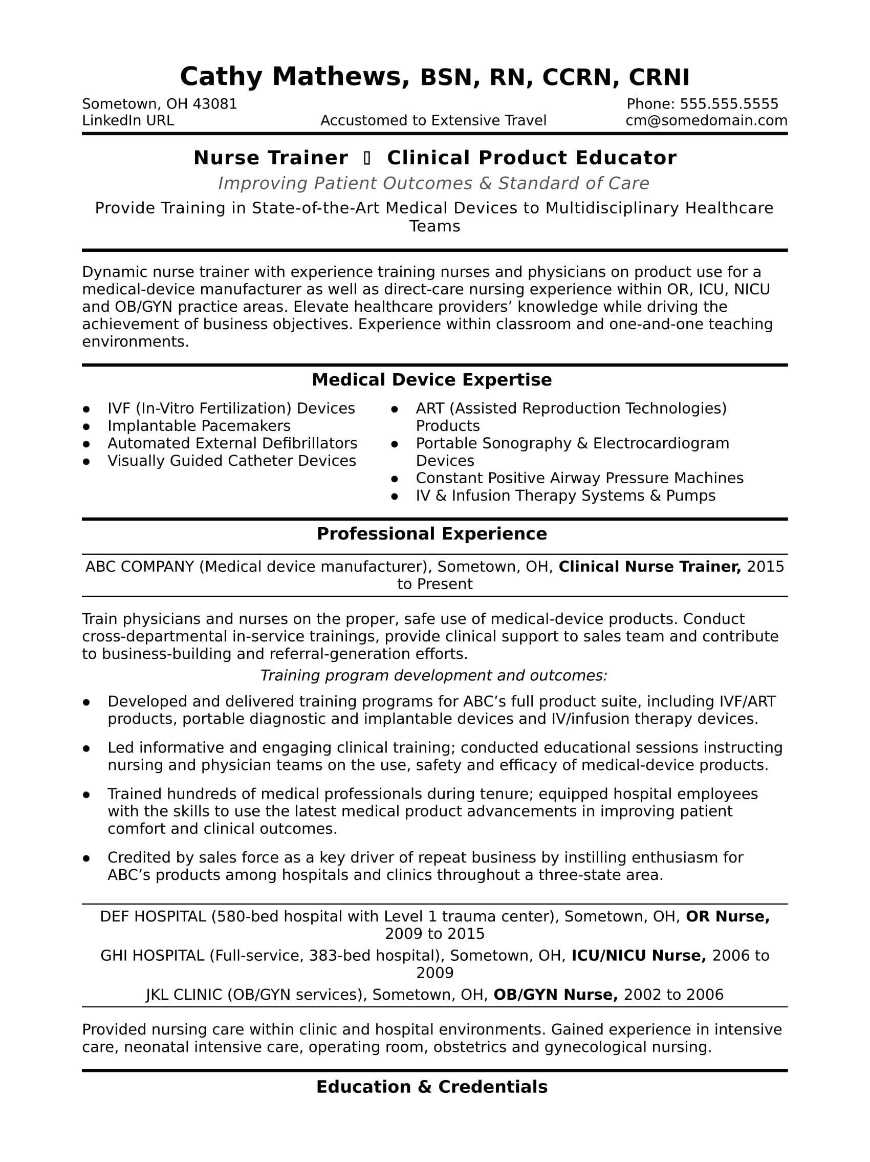 Nurse Trainer Resume Sample Monster Com