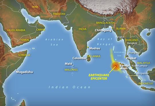 NPR  Map of Southern Asia Tsunami Impact Region The most powerful earthquake in 40 years erupted under the Indian Ocean  near Sumatra on Dec  26  2004  It caused giant  deadly waves to crash  ashore in