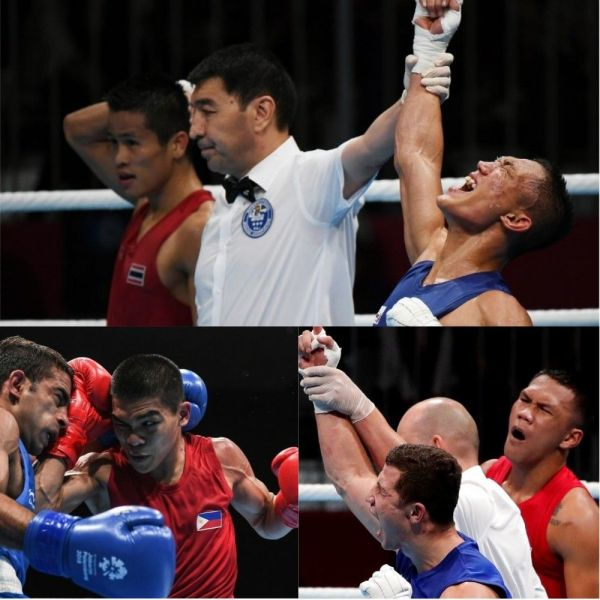 Ladon lone gold hope as Paalam  Marcial settle for bronze medals in     Top  Rogen Ladon celebrates after the referee announces the judges   decision during the men s flyweight boxing of the 2018 Asian Games in  Indonesia