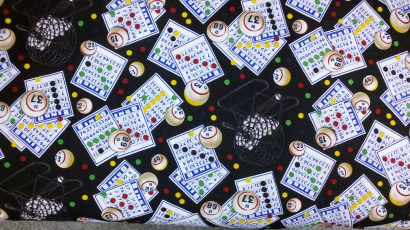 Bingo Game Bingo Card Ball Basket Cotton Quilting Fabric ES03
