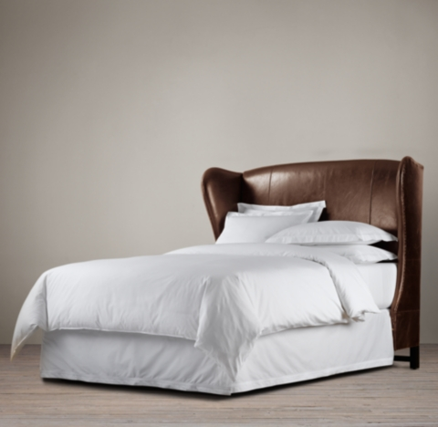 French Wing Leather Headboard