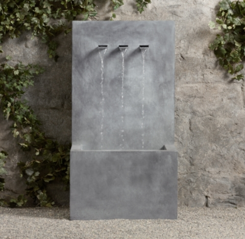 Weathered Zinc Wall Fountain 3 Spout