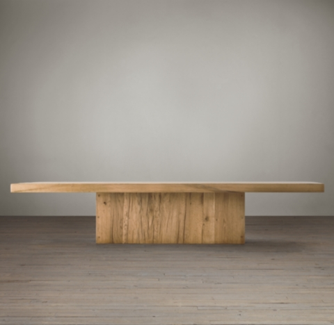 Reclaimed Russian Oak Plinth Rectangular Coffee Table