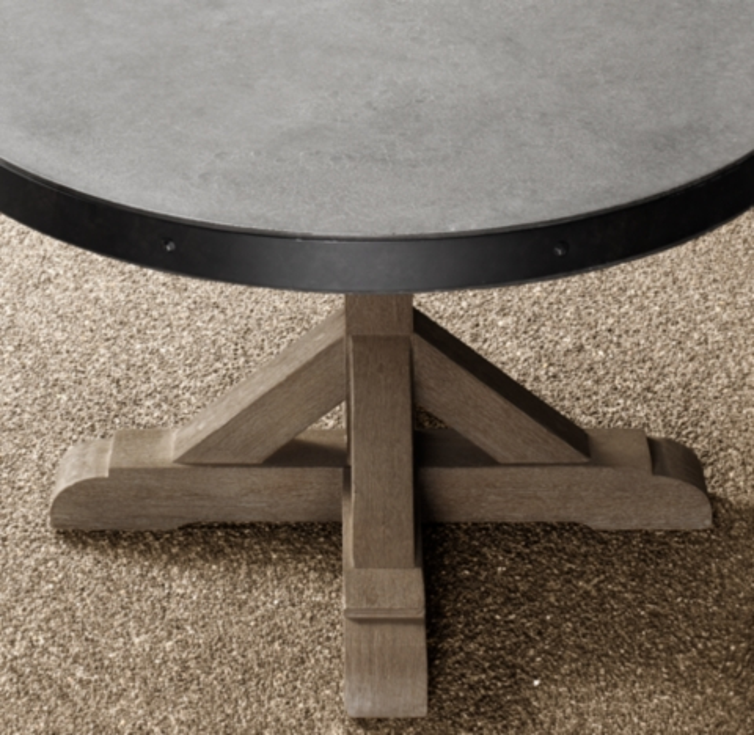 Belgian Trestle Concrete Amp Teak Round Dining Table