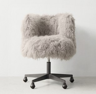 Kinney Mongolian Lamb Desk Chair   Graphite