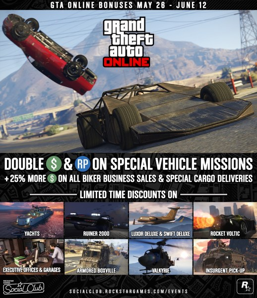 GTA Online Bonuses  Double GTA    RP Opportunities   Limited Time     Whether you re tearing through traffic in the Ramp Buggy or raiding Fort  Zancudo in the Ruiner 2000  get paid handsomely for harnessing the unique  powers of