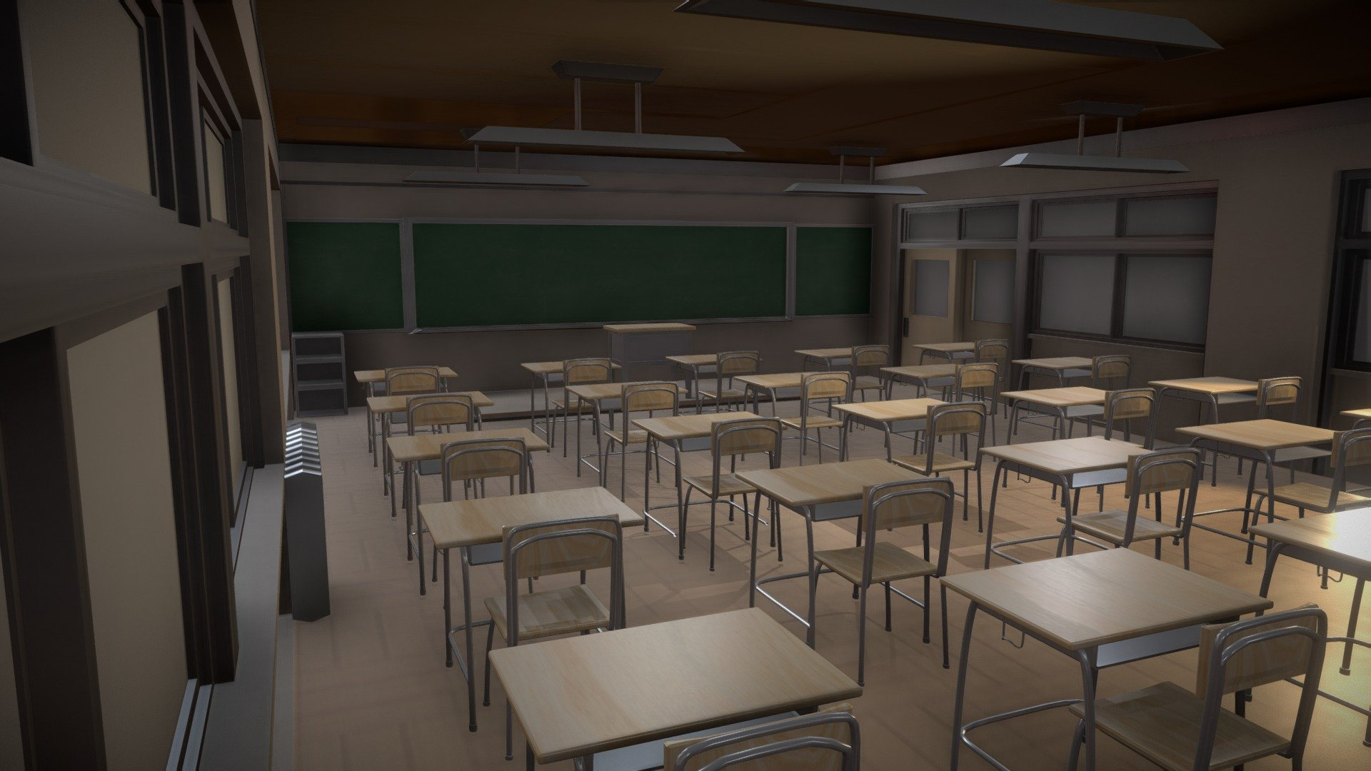 Japanese Classroom Download Free 3d Model By T I A N