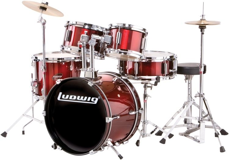 Ludwig 5 piece Junior Drum Set with Cymbals   Hardware   Wine Red     Ludwig 5 piece Junior Drum Set with Cymbals   Hardware   Wine Red image 1