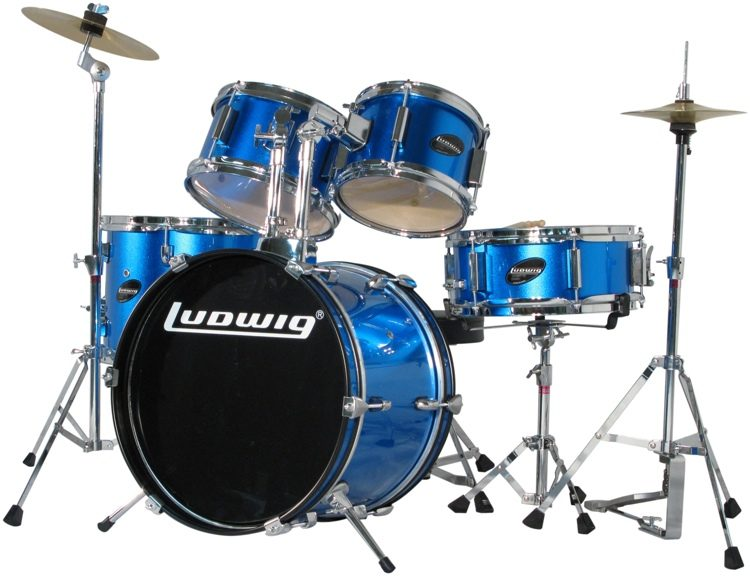 Ludwig 5 piece Junior Drum Set with Cymbals and Hardware   Blue     Ludwig 5 piece Junior Drum Set with Cymbals and Hardware   Blue Metallic  image 1