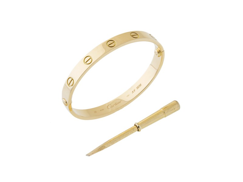 Cartier Love Bracelet Yellow Gold Old Screw size 16 with screwdriver     Cartier Love Bracelet Yellow Gold Old Screw size 16 with screwdriver and  Papers