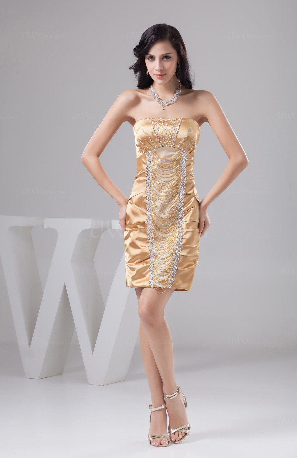 Beige Unique Bridesmaid Dress Beach Sexy Sheath Tight Classy Natural Low Back Uwdress Com