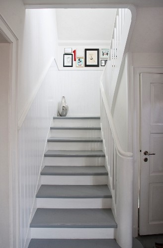 White Wooden Staircase With Grey Painted … – Buy Image – 11345562 | Grey Wood Stair Treads | Coloured | Marble | Low Cost | Gray Color | Porcelain
