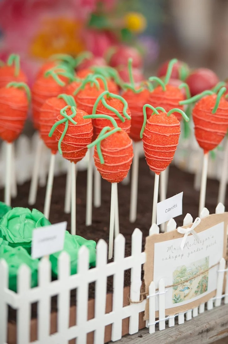 Carrot Cake Pops Peter Rabbit First Birthday Party