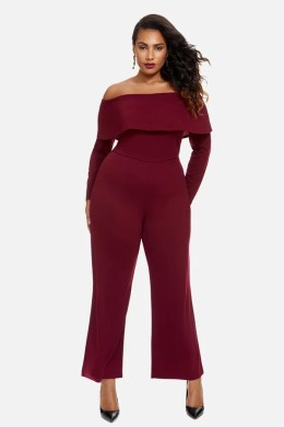 Fashion to Figure Bordeaux Off Shoulder Wide Leg Jumpsuit   Cheap     Fashion to Figure Bordeaux Off Shoulder Wide Leg Jumpsuit