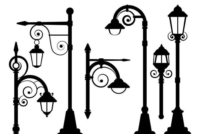 Street lamp, road lights vector silhouettes By Microvector ...