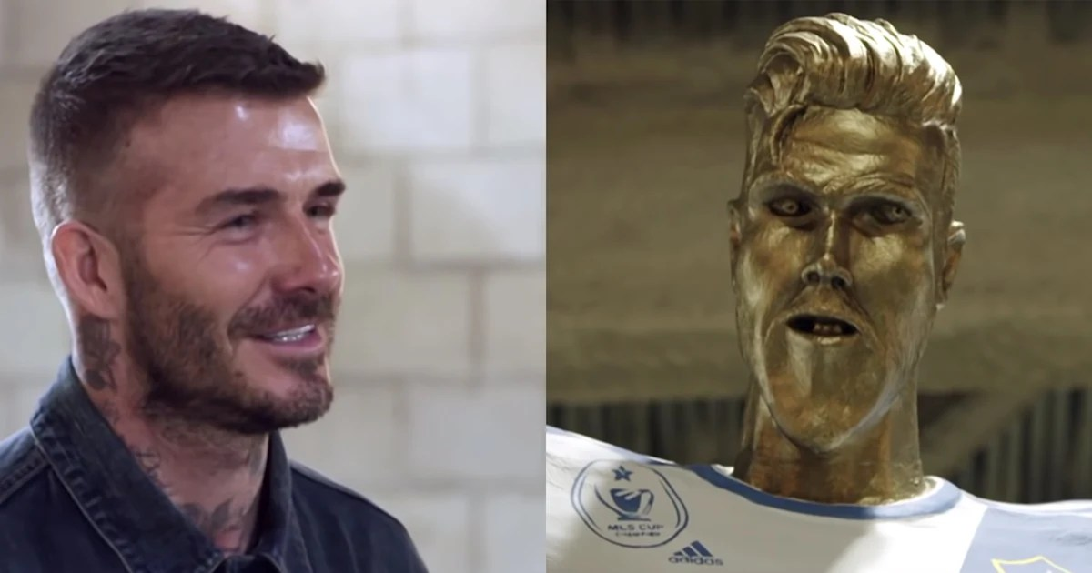 James Corden pranks David Beckham with hideous statue
