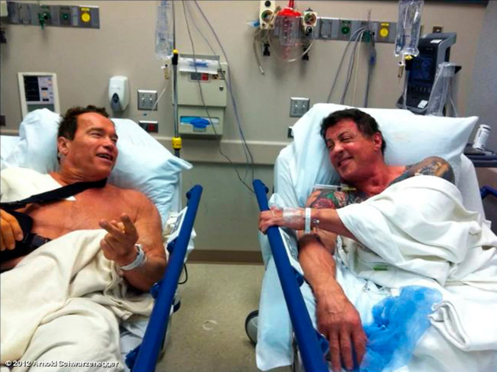 Arnold And Stallone In Hospital