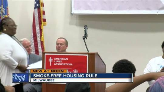 New rule to protect 18 000 Wisconsin residents from secondhand smoke     Starting Monday  Wisconsin public housing residents will have to abide by  the new smokefree housing rule