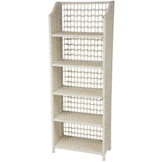 Collapsible Shelving Unit   Bellacor Oriental Furniture 53 Inch Natural Fiber Shelving Unit White  Width   19 5  Inches