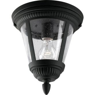 Seeded Glass Ceiling Fixture   Bellacor Progress Lighting Westport Black One Light Outdoor Ceiling Flush Mount with  Clear Seeded Glass