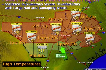 Severe Weather for Central Texas   KUT Scattered to numerous showers and thunderstorms are expected in Central  Texas this afternoon  National Weather Service
