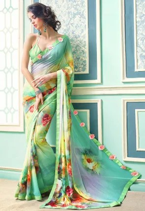 Saree Online  Buy Latest Indian Sarees  Saris  for Women   Utsav Fashion Digital Printed Georgette Saree in Sky Blue and Light Green